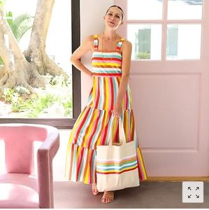 J Crew Tiered Maxi Dress in Rainbow Stripe